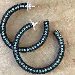Jewelry - Brand new Swarovski crystal hoop earrings in ocean